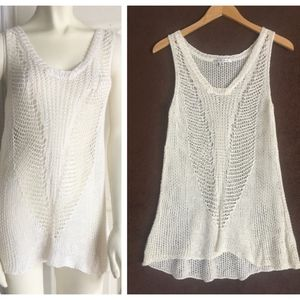 Cabi crocheted sweater knit tank top S small cream
